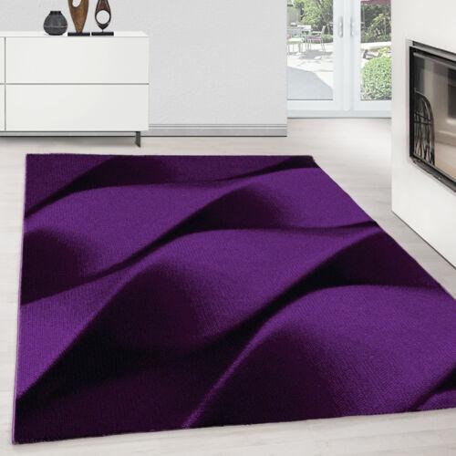 Teppich modern Designer Wohnzimmer Abstrakt Wellen Muster Schwarz Lila Oeko Tex