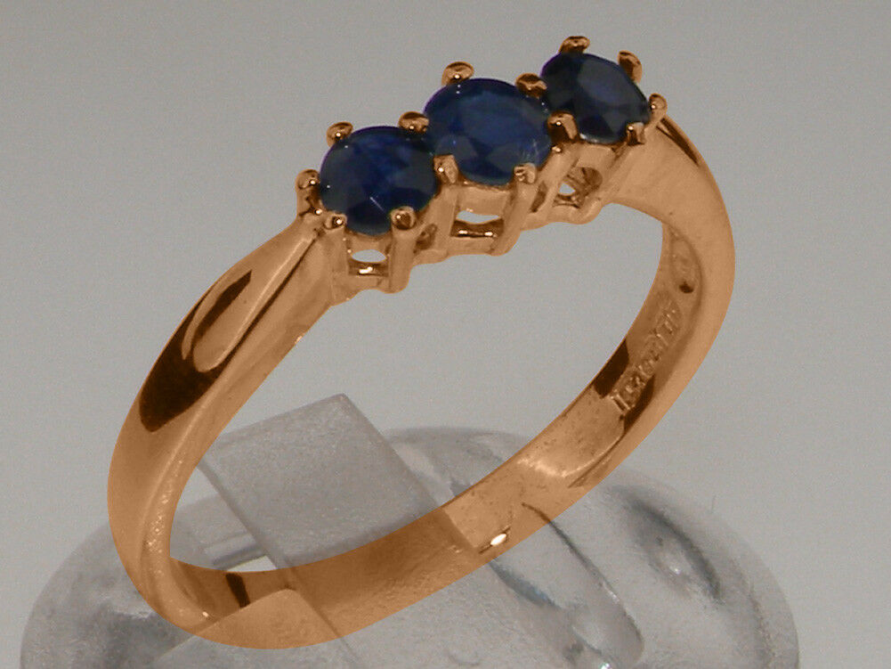 Solid 9ct pink gold Natural Sapphire Womens Trilogy Ring - Sizes J to Z