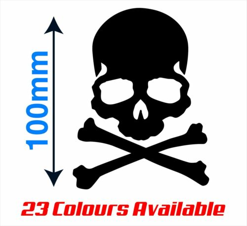 Cus Skull Sticker Decal 100mm High Car Bumper Bike Helmet Laptop Skate