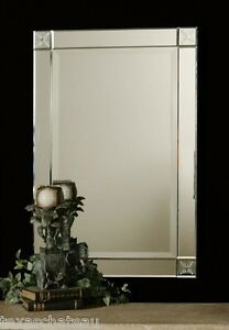 MIRROR FRAMED LARGE ETCHED VENETIAN FRAMELESS WALL BATH BATHROOM VANITY N