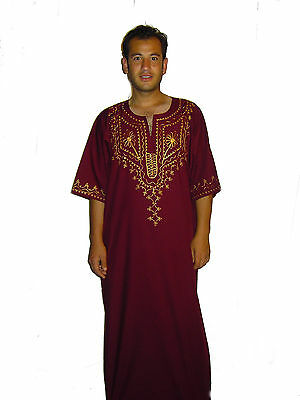 Modern Men's Caftan Housecoat Aus1001 Night In Bordeaux Kam00539 wine Red