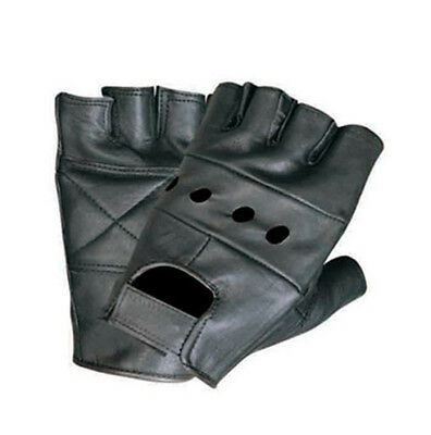 MENS THICK COW LEATHER FINGERLESS GLOVES BIKER MOTORCYCLE MULTI-USE ALL SIZES