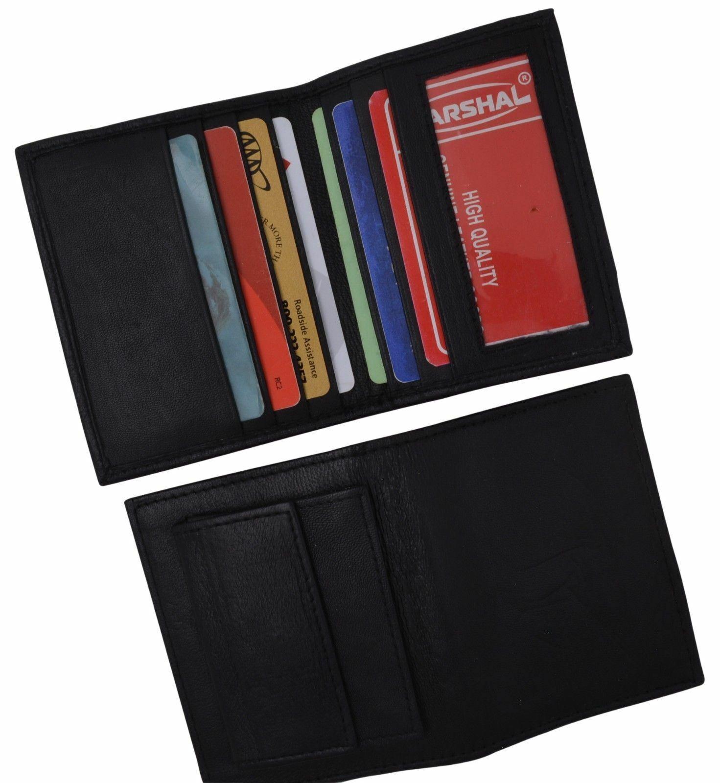Black Mens Bifold Lambskin Leather ID Mini Wallet Slim Credit Card Holder Thin