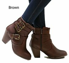 New Women EFy Black Tan Brown Western Ankle Booties Riding Boots size 6-10