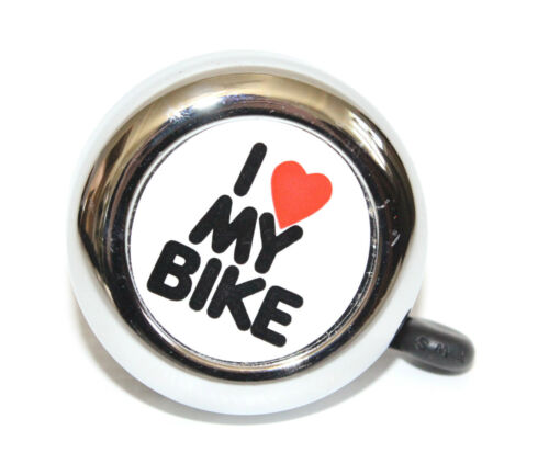 BIKE BELL I LOVE MY BIKE KIDS LADIES MENS BIKES BICYCLES SILVER CHROME RING