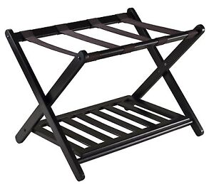 Details about Winsome Reese Wood Stylist Folding Bedroom Luggage Rack Stand  w/ Shoe Shelf