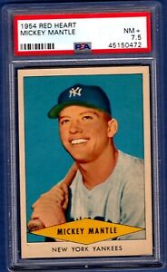 1954 Red Heart Baseball Mickey Mantle    PSA NM+ 7.5   BEAUTIFUL CENTERED CARD!!
