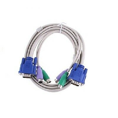 New 5 Feet 1.5M PS2 KVM Switch Computer Cable Set For VGA Keyboard Mouse US