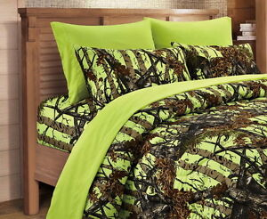 7 PC ORANGE CAMO COMFORTER LIME YELLOW SHEET SET FULL SIZE SET CAMOUFLAGE WOODS