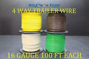 18 GAUGE WIRE ENNIS ELECTRONICS 5 WAY TRAILER LIGHT 100 FT SPOOLS PRIMARY CABLE