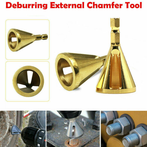 HOT Stainless Steel Deburring External Chamfer Tool Drill Bits Remove Burr Gold~