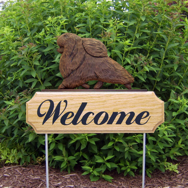 Pomeranian Dog Breed Oak Wood Welcome Outdoor Yard Sign Brown