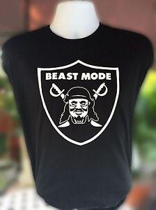 Men-039-s-BEAST-MODE-Raiders-Marshawn-Lynch-T-Shirt-3XL-3-Extra-large