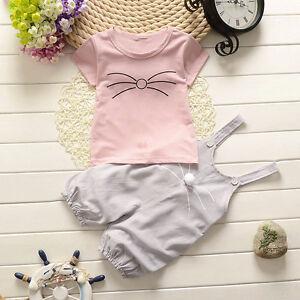 2PCS Infant Newborn Baby Kids Girl Tops T-shirt+Bib Pants Party Outfits Clothes