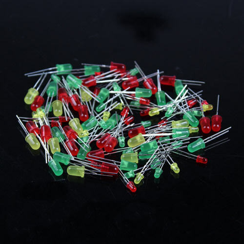 New  LED Round 100pcs Red Yellow Green Light-emitting diode Mix Color 3mm 5mm
