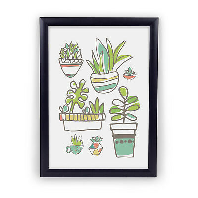 Succulent Garden 5x7 Illustratred Plant and Nature Wall Art Print Home Decor