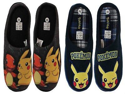 Mens Pokemon Characters Novelty Fleece Lined Comfort Mule Slippers UK Size 7-12