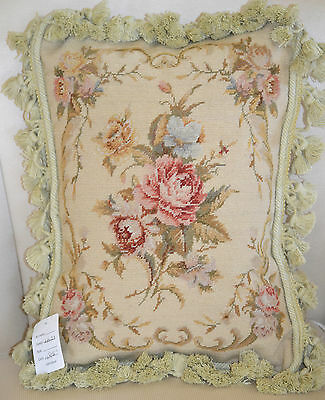 """12""""x 16"""" French Country Style Handmade Petite Point Needlepoint Pillow WM-33"""