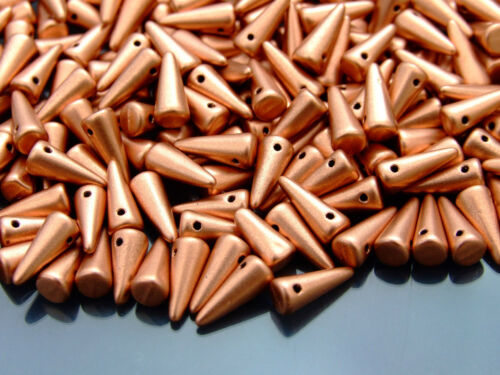 20pcs Tchèque Spike//Cône Perles de Verre Taille 4x10mm Matte metallic copper