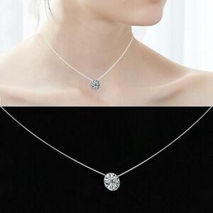 Details zu unsichtbare Nylon Kette Halskette schwebende Strassstein Strass Schmuck Choker