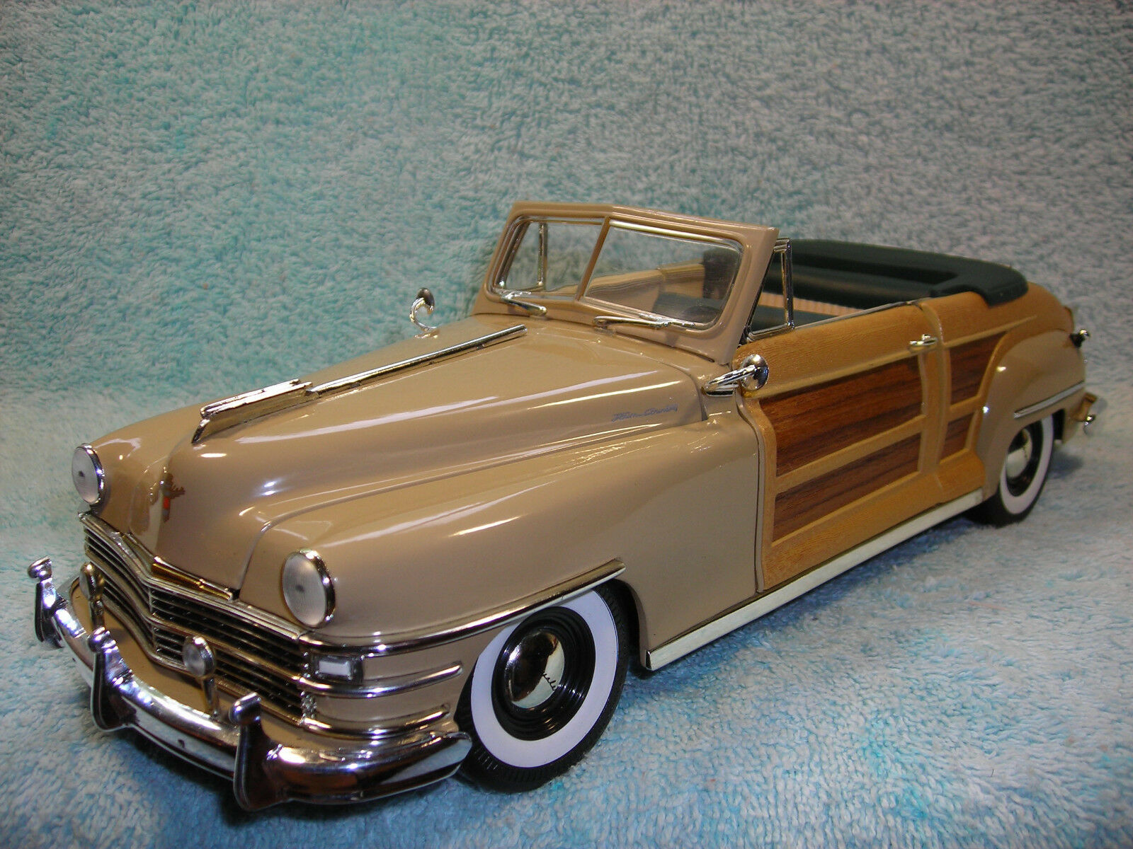 1 18 1948 CRYSLER T&C CABRIO IN CATALINA TAN\REAL WOOD BY MOTOR CITY CLASSICS.