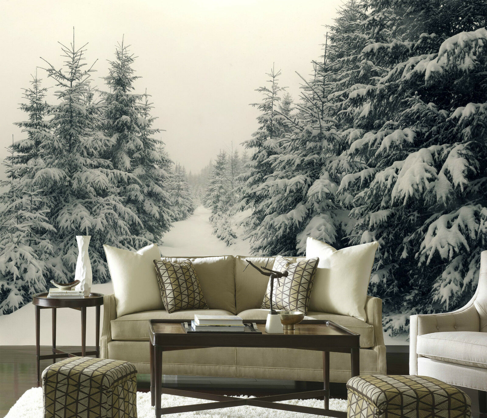 3D Snow Pines Road 0121 Wall Paper Wall Print Decal Wall Deco Indoor Wall