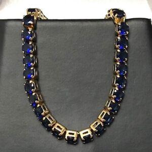 23-37-Ct-Blue-Sapphire-Tennis-Bracelet-Women-Jewelry-Gift-18K-Yellow-Gold-Plated