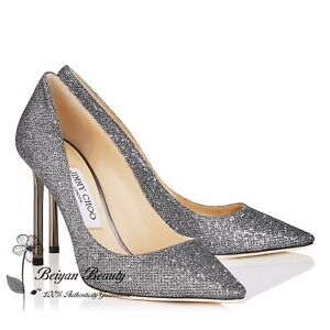 7be47f4cc84 New Jimmy Choo Silver Anthracite Lame Glitter Pointy Toe Classic 38 ...