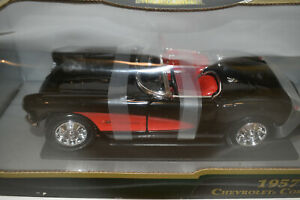 1957-Chevy-Corvette-Convertible-BLACK-RED-1-18-Scale-Diecast-Model-Car