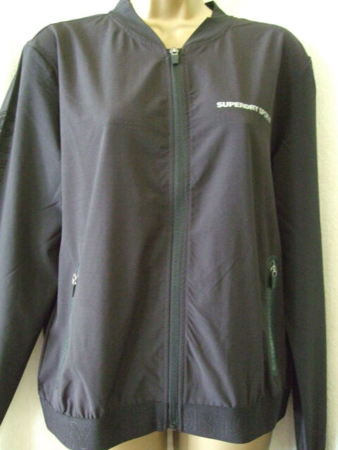 NEW £55 SUPERDRY LARGE SIZE 14 BLACK SPORT LITE DRILL BOMBER TOP JACKET