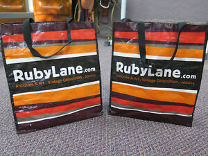 Shopping-Bags-Reusable-x2-Medium-Laundry-Tote-Eco-Lot-of-2-Travel-Bag-Ruby-Lane