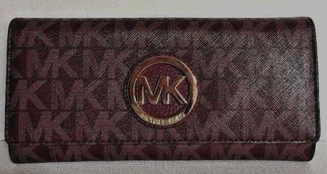 michael kors fulton merlot flap continental wallet 357gfte5v ebay rh ebay com