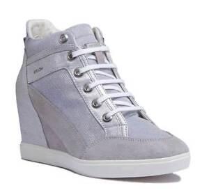 b06cabecee5 Geox Eleni Women Synthetic Grey Silver Hidden Wedge Heel Shoes UK ...