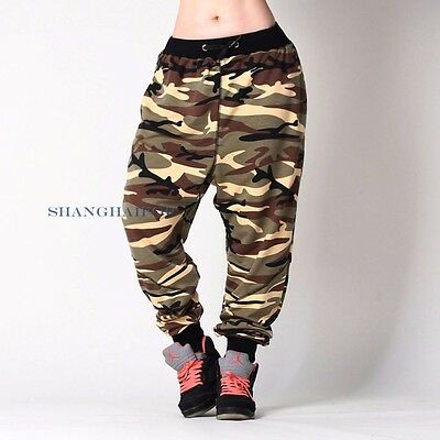 Women/Lady Camouflage Drop Crotch Harem Sweatpants Trousers Pants Sports Hip Hop