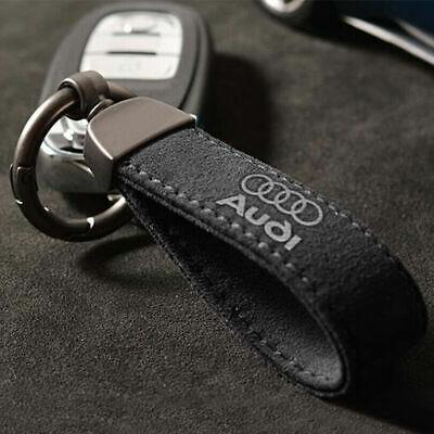 High-quality Black Matte Leather Car Logo Keychain Keyring Holder Fit For Audi