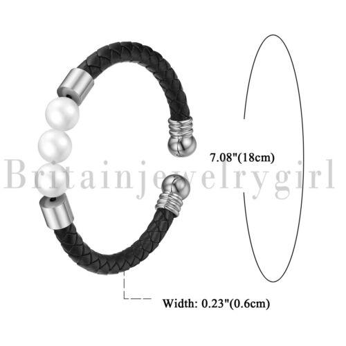 Chaussures femme 6 mm cuir tressé Cuff Bracelet W//3 blanc de culture d/'eau douce Perles