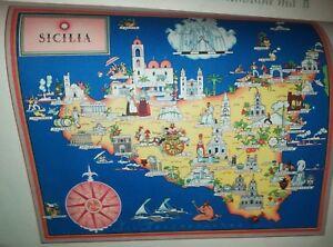 Cartina Sicilia Enna.50 Vecchia Cartina Sicilia Palermo Enna Catania Noto Modica Marsala Cefalu Ebay
