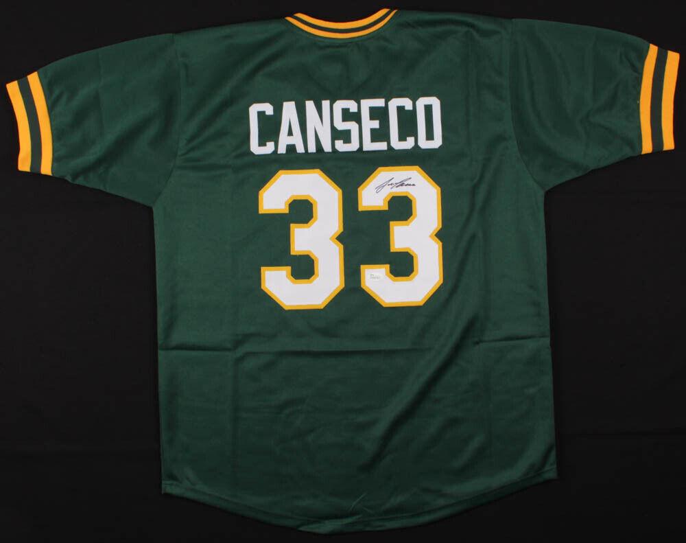 Jose canseco signed athletics oakland vert jersey (jsa coa) bash brougehers