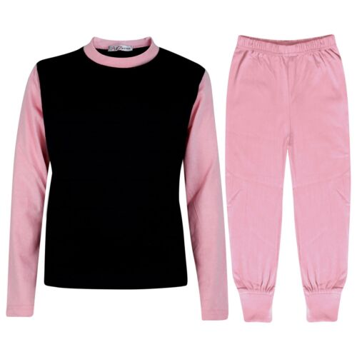 Kids Girls Pjs Contrast Baby Pink Color Plain Stylish Pyjamas Set Age 2-13 Years