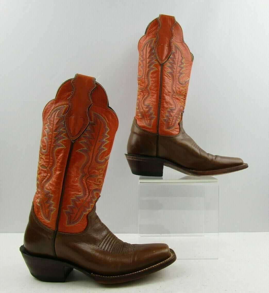Ladies Justin Two Tone arancia Marronee Leather Square Toe Western Dimensione  5.5 B