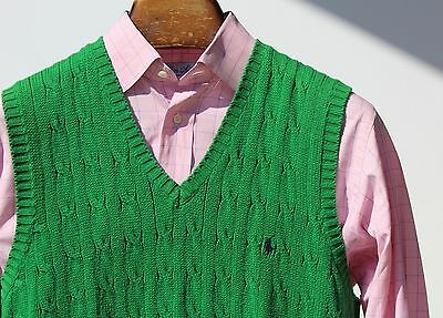 Polo Ralph Lauren M Green V-Neck Cable Knit Cotton Sweater Vest