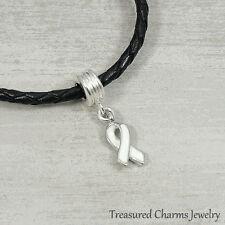 White Awareness Ribbon Dangle Bead Charm - Fits European Bracelets NEW