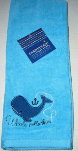 """Details about  /COASTAL//NAUTICAL EMBROIDERED GUEST TOWEL  ASSORTMENT 16/"""" X 28/"""" Your Choice"""
