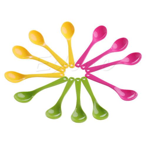 12Pcs Baby Feeding Spoon Safe Plastic Toddler Training Eating Spoon Set Food