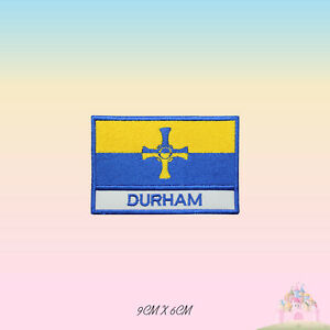 DURHAM UK County Flag With Name Embroidered Iron On Patch Sew On Badge