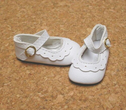 """13/"""" Patsy Doll Shoes 54mm WHITE Classic Ankle Straps P91 Toni"""