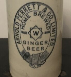 ARNOLD PERRETT Wickwar GINGER BEER BOTTLE Stoneware Drink Flask Vintage Denby