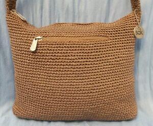 The Sak Handbag Womens Crochet Toupe Hand Made Shoulder Bag Hobo
