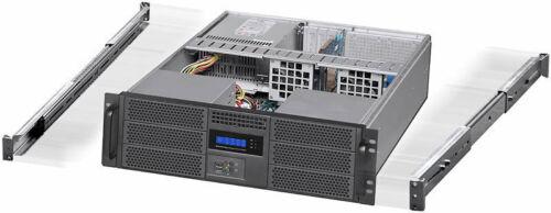 "Rackmount Chassis Fan LCD EATX Case 3U 24/"" Rail Set NEW 6x5.25/""+4xHDDs"