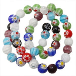 1 String 110869 New Charms Mixed Millefiori Flower Round Lampwork Beads